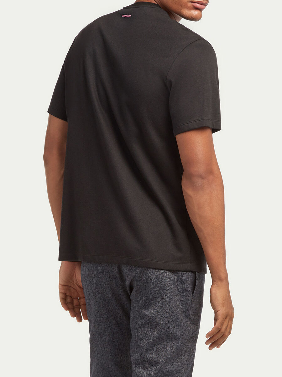 T shirt coupe over jersey compact de viscose imprimee