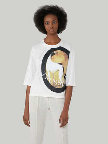 Oversized cotton jersey T-shirt with maxi-print