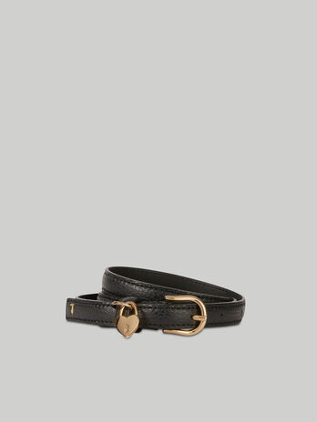Deerskin-print leather belt with heart charm