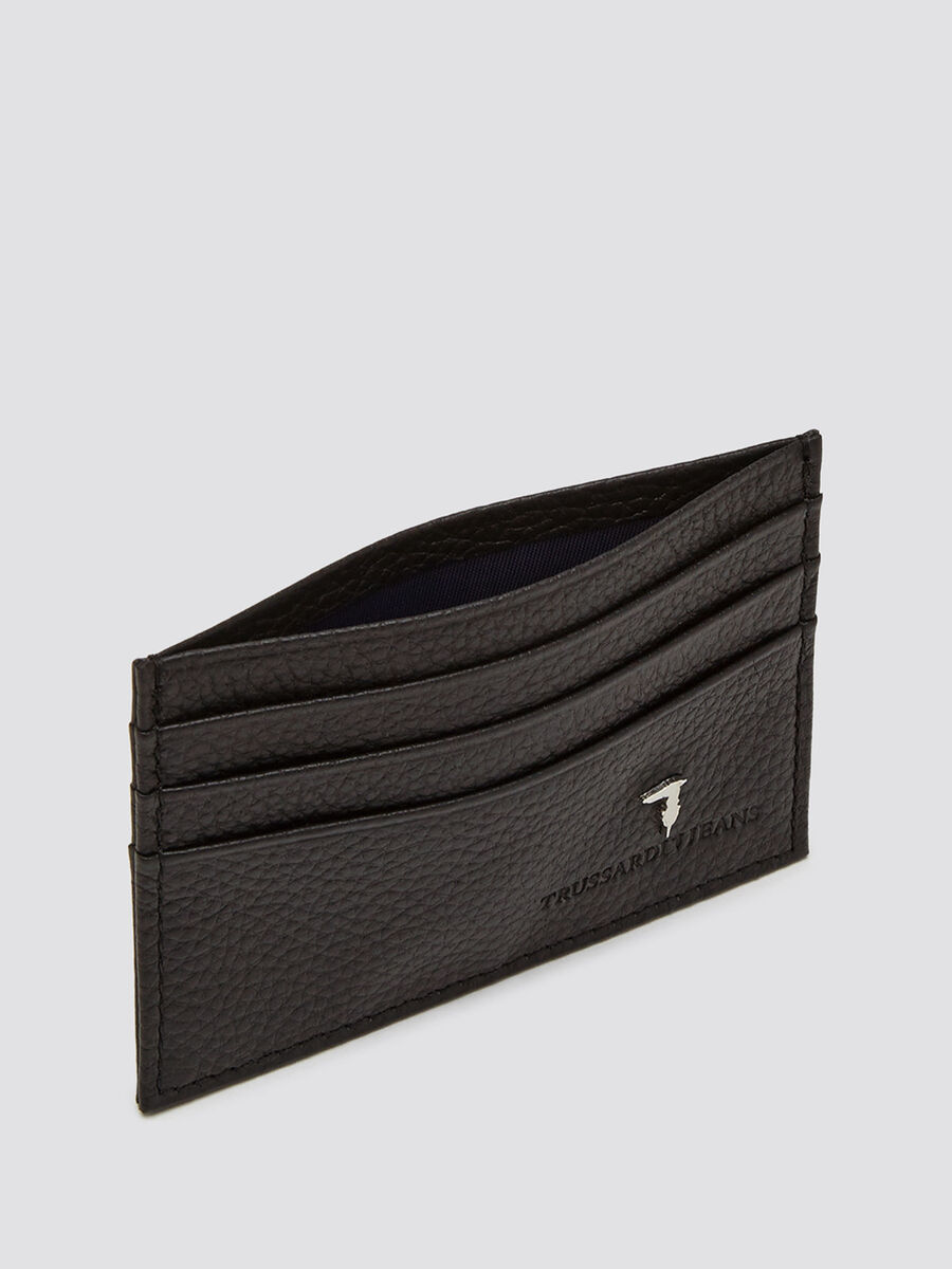 Large grain card holder with logo