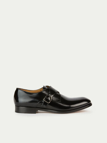 Monochrome matte leather Oxfords with buckle detail