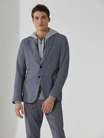 Blazer regular fit in cotone e lino