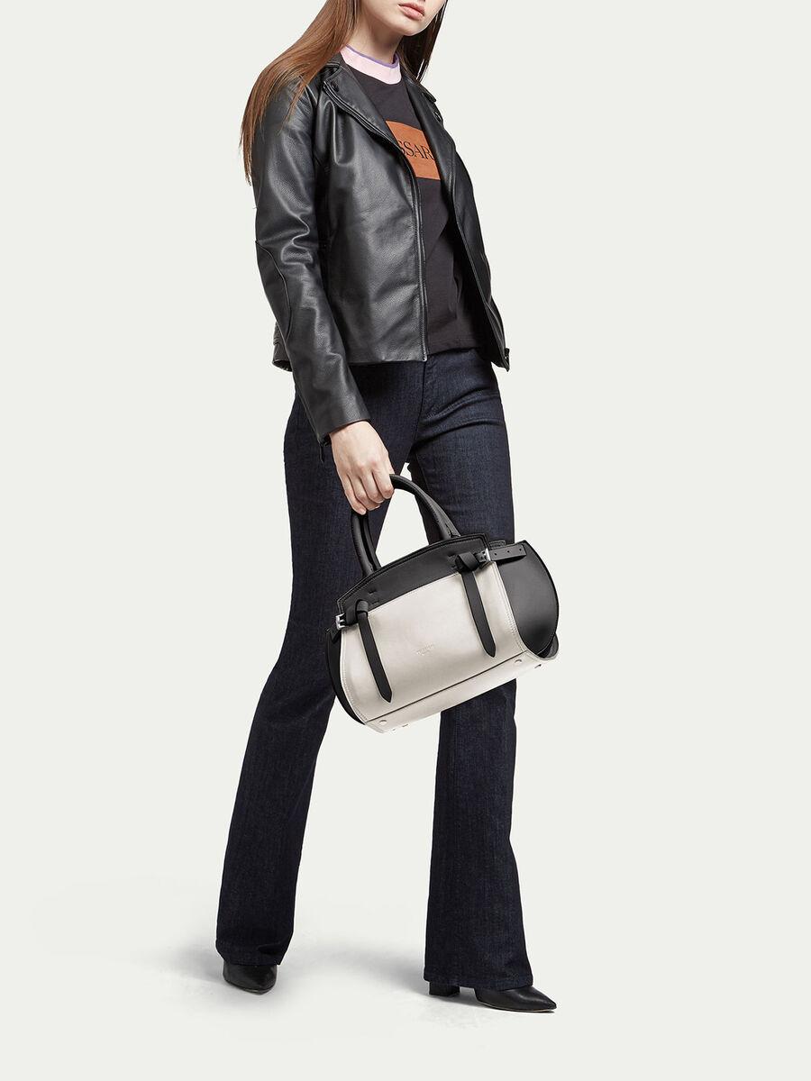 Medium Gita bag in two tone colour blocked leather