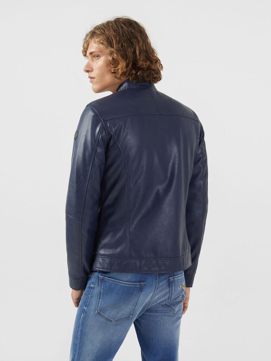 Biker jacket in similpelle regular fit