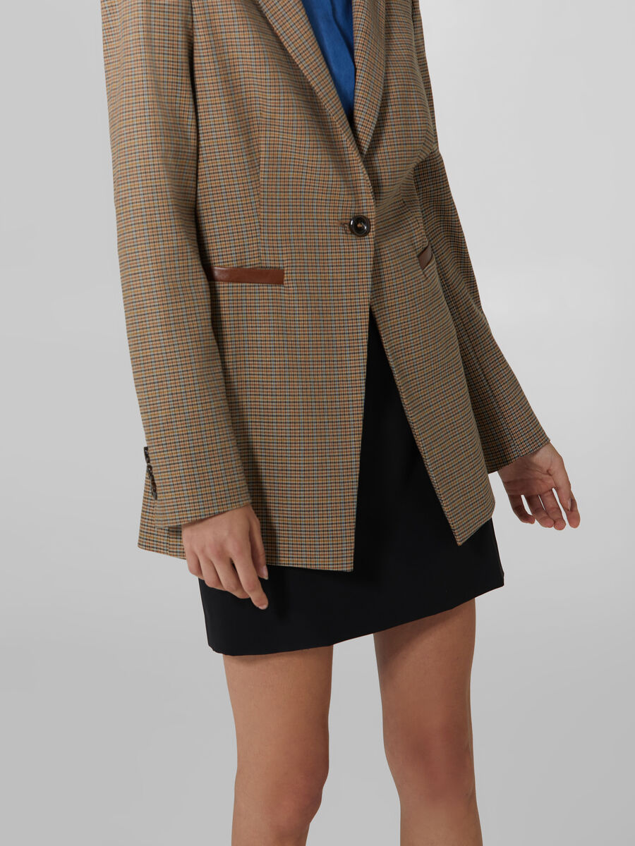 Single breasted chequered blazer