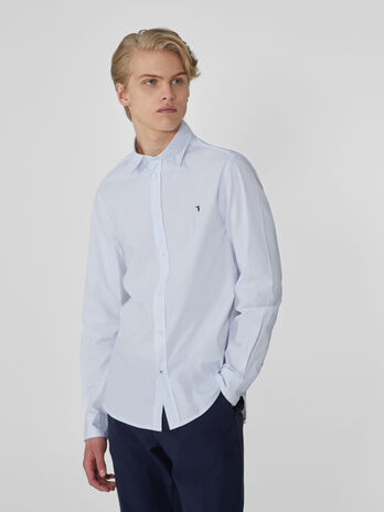 Camicia slim fit in popeline di cotone stretch