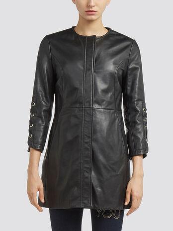 Regular fit pure leather coat