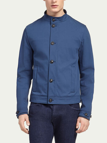 Cotton jacket with off centre closure