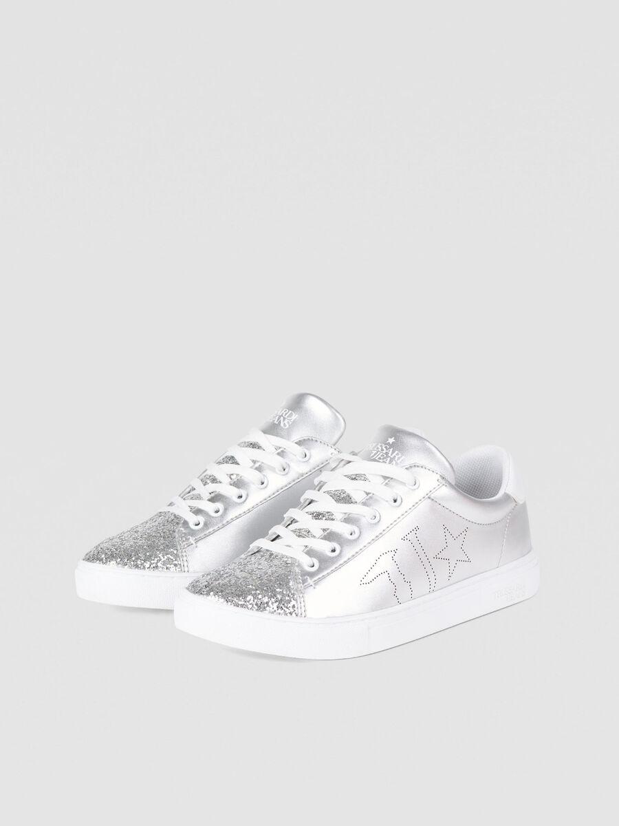 Sneakers en similicuir paillete