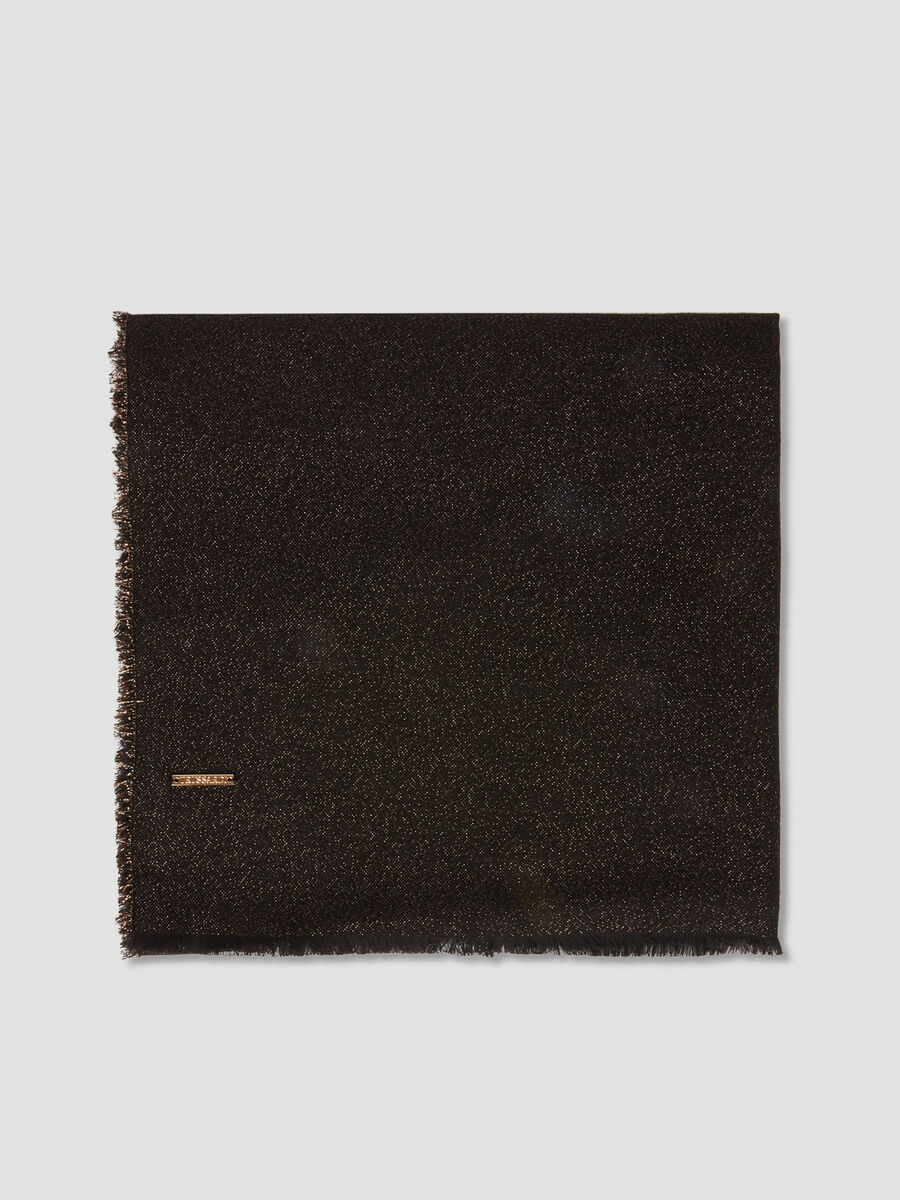 Lurex knit pashmina with branded tag