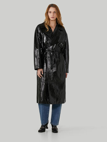 Glossy Naplak leather trench coat
