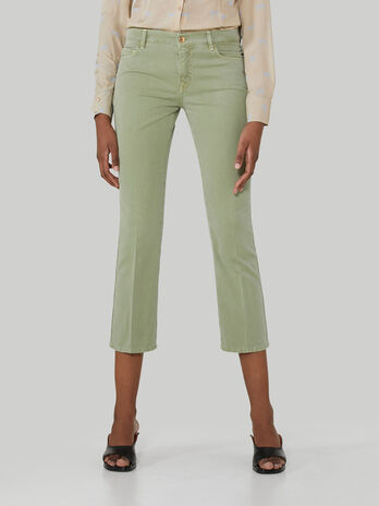 Cropped garment-dyed cotton trousers