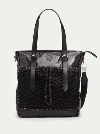 Tresor calfskin shopping bag with mesh detailing