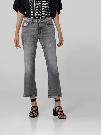 Vaqueros Kick cropped de denim
