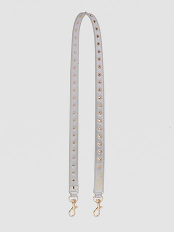 Faux leather shoulder strap with rhinestones