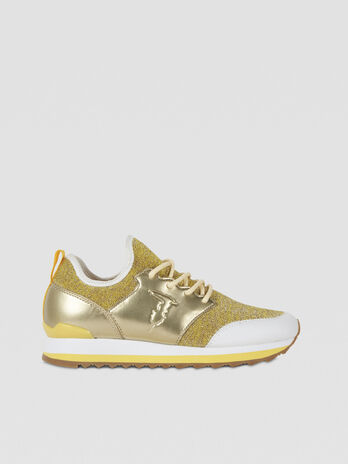Laminated faux leather and knit running sneakers