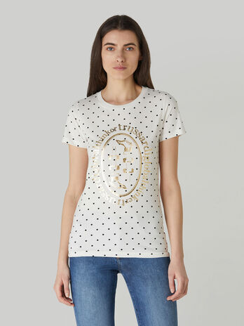 Slim-fit polka-dot cotton jersey T-shirt