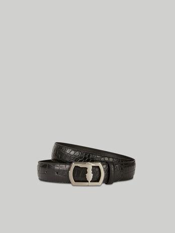 Cintura in pelle stampa coccodrillo