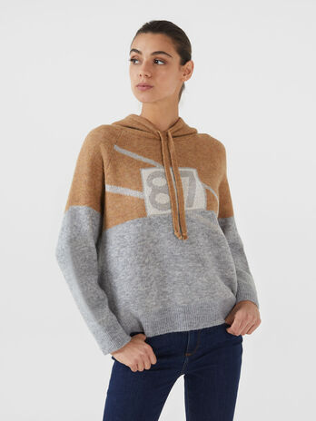 Regular fit mohair blend hoody