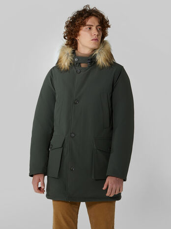 Neoprene parka with hood