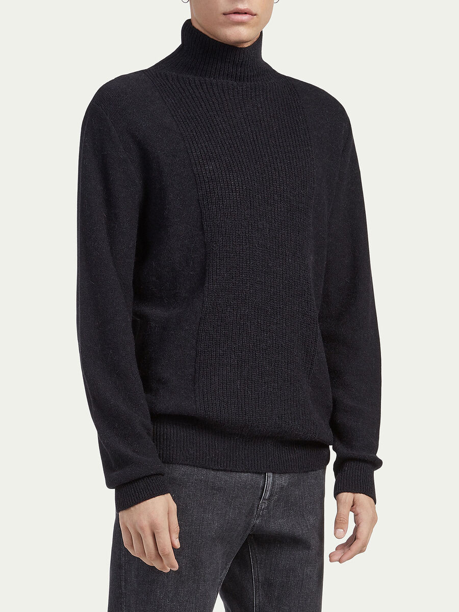 Regular fit alpaca polo neck