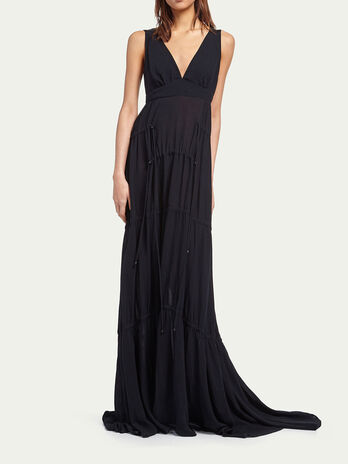 Long crepe dress with drawstring