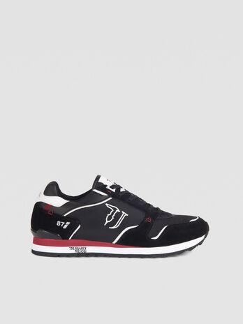 Sneaker running in nylon con lacci e logo