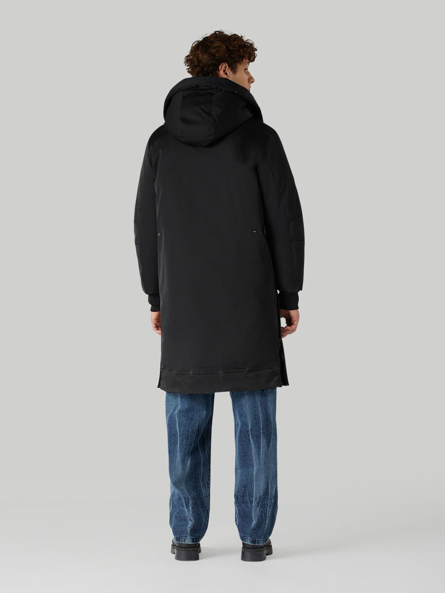 Technical satin down jacket with hood
