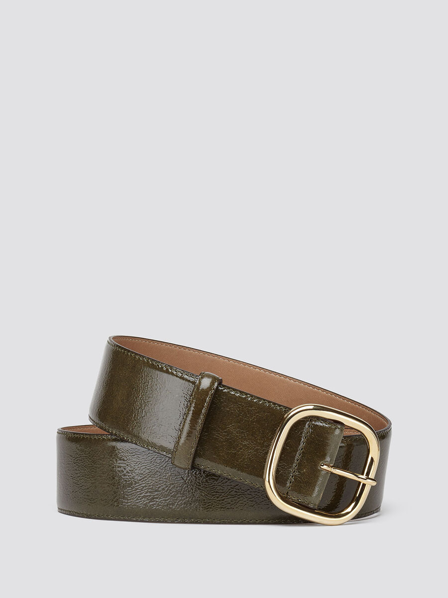 Naplack effect leather belt
