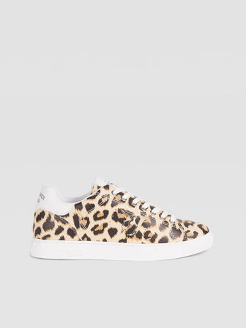 Animal print faux leather sneakers