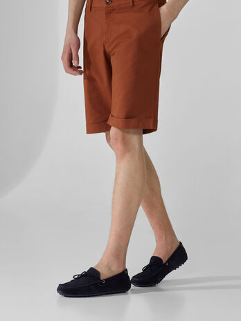 Aviator-fit shorts in cotton gabardine