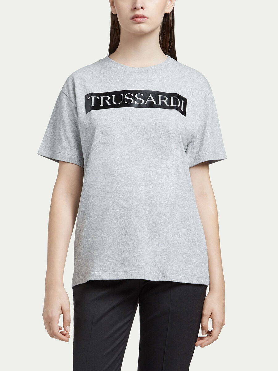 Compact jersey T-shirt with logo print