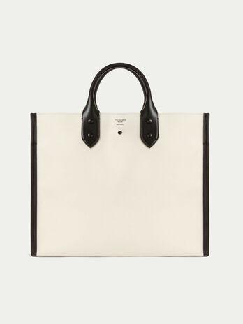 b0e1169e22fe2f Shopping bag clean dryllim textile in pelle con logo