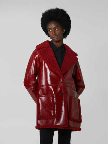 Shiny faux shearling coat