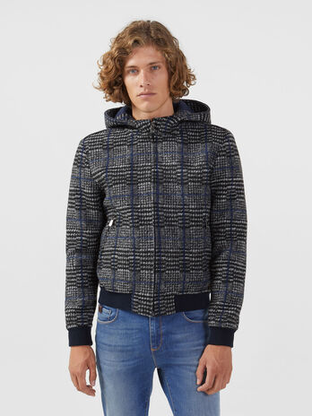 Regular fit woven chequered bomber jacket