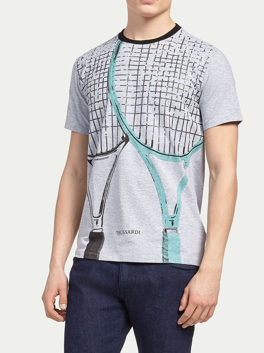 Jersey T shirt with racket print