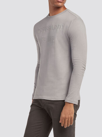 T Shirt aus reiner Baumwolle mit aufgesticktem Logo