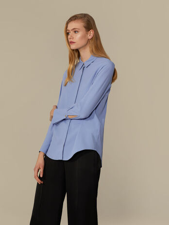 Camicia regular fit in seta crepe