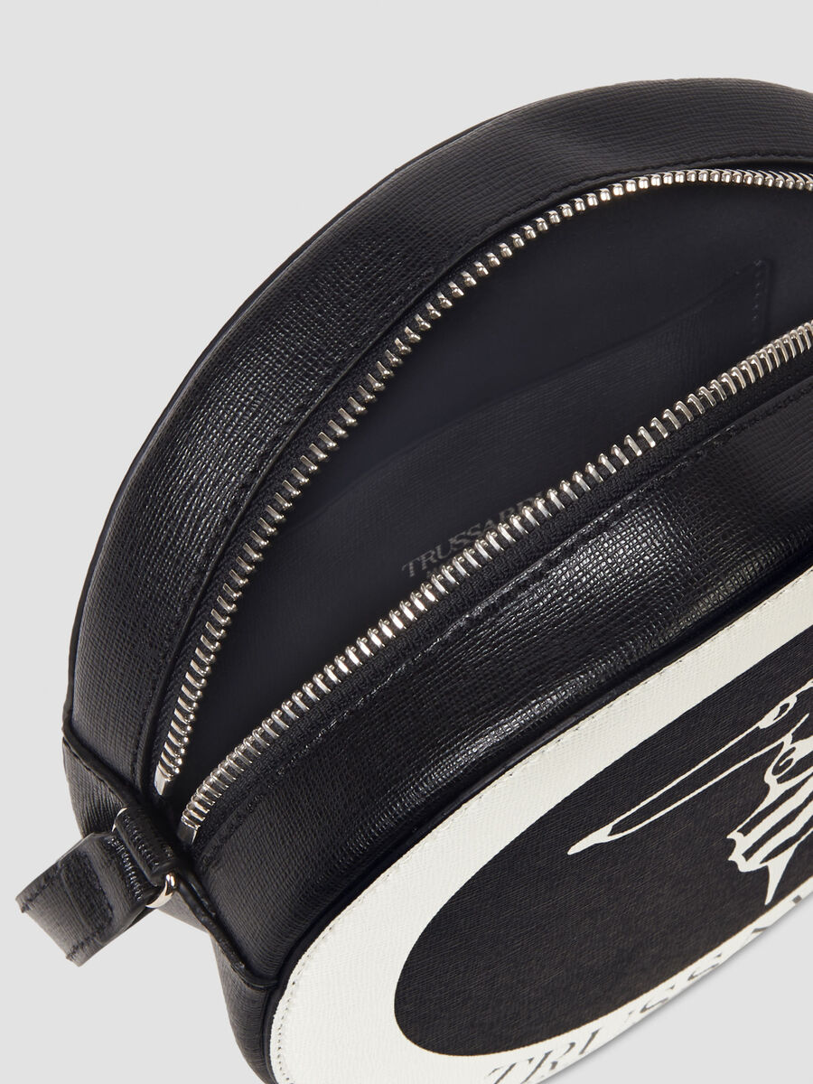 Saffiano leather disco bag with contrasting logo