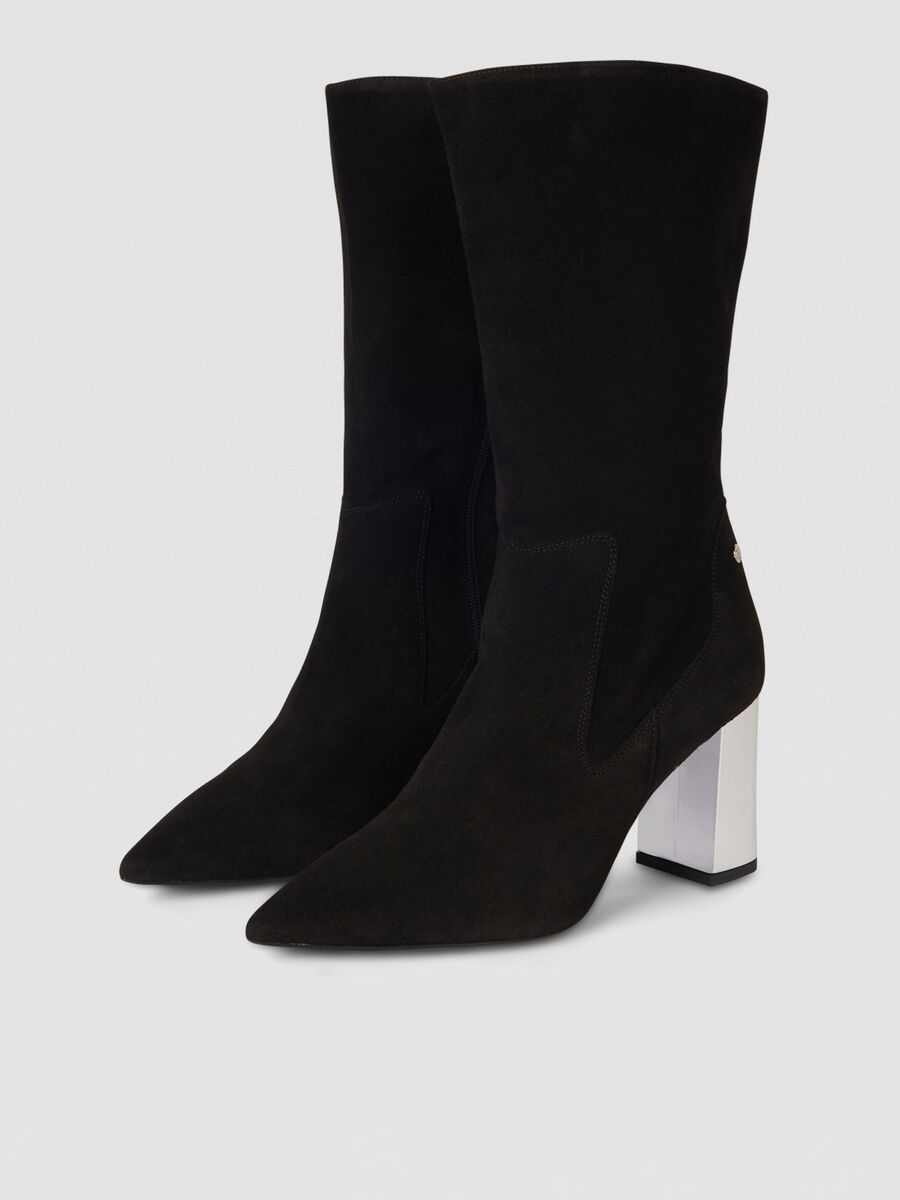 Suede boots with metal heel