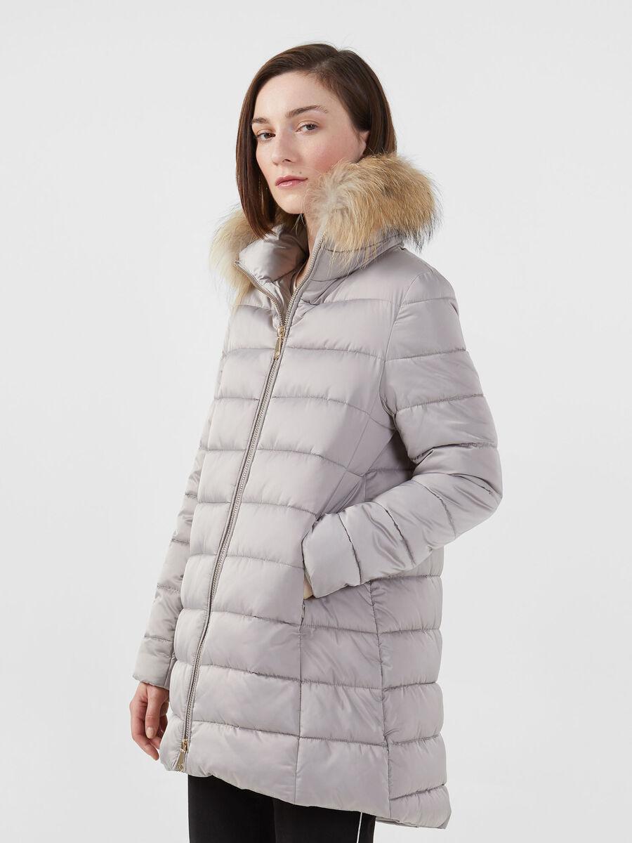 Nylon satin down jacket with hood and fur