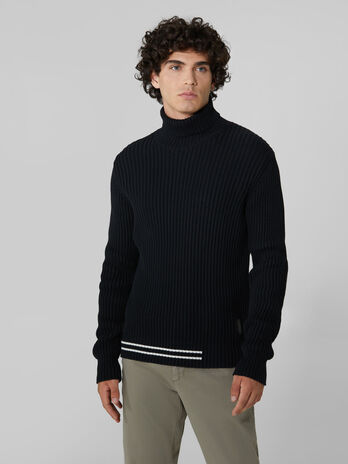 Ribbed cotton and wool polo neck pullover