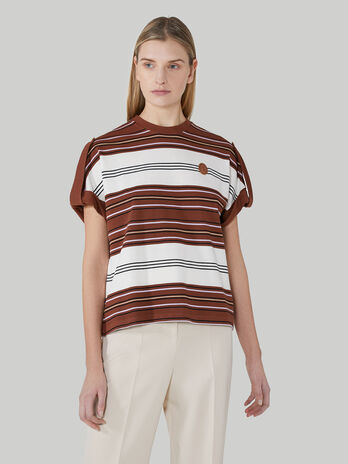 Boxy-fit striped pique T-shirt