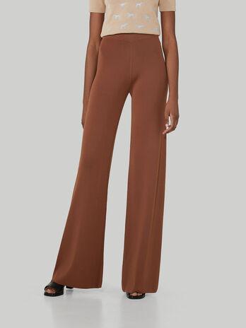 Regular-fit viscose knit trousers