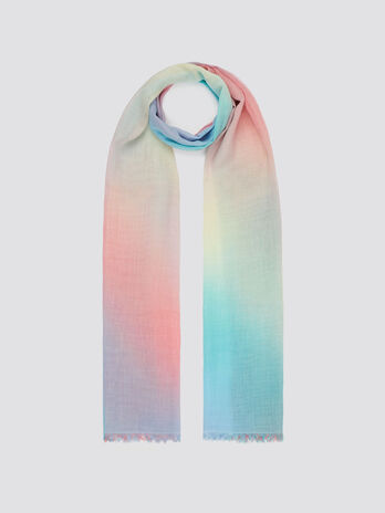 Polyester and viscose blend pashmina nuanced colours