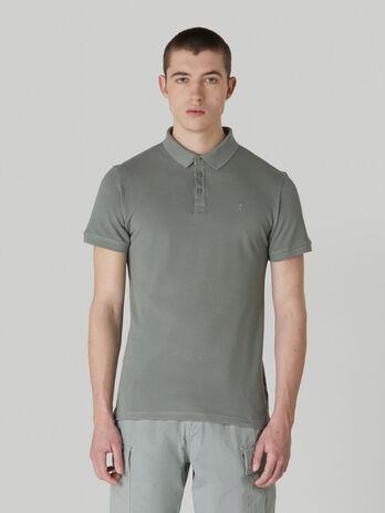 Solid-colour cotton pique polo-shirt