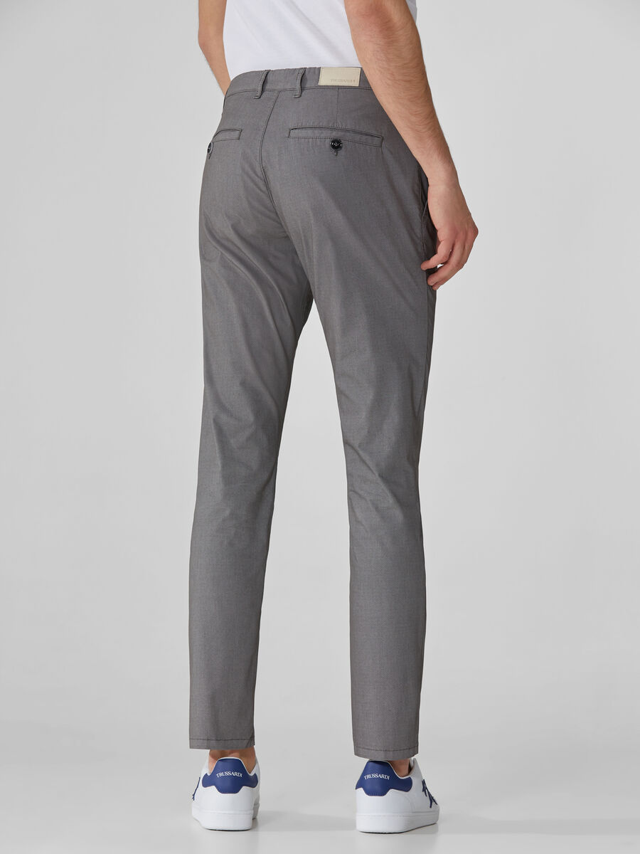 70s-fit trousers in textured cotton