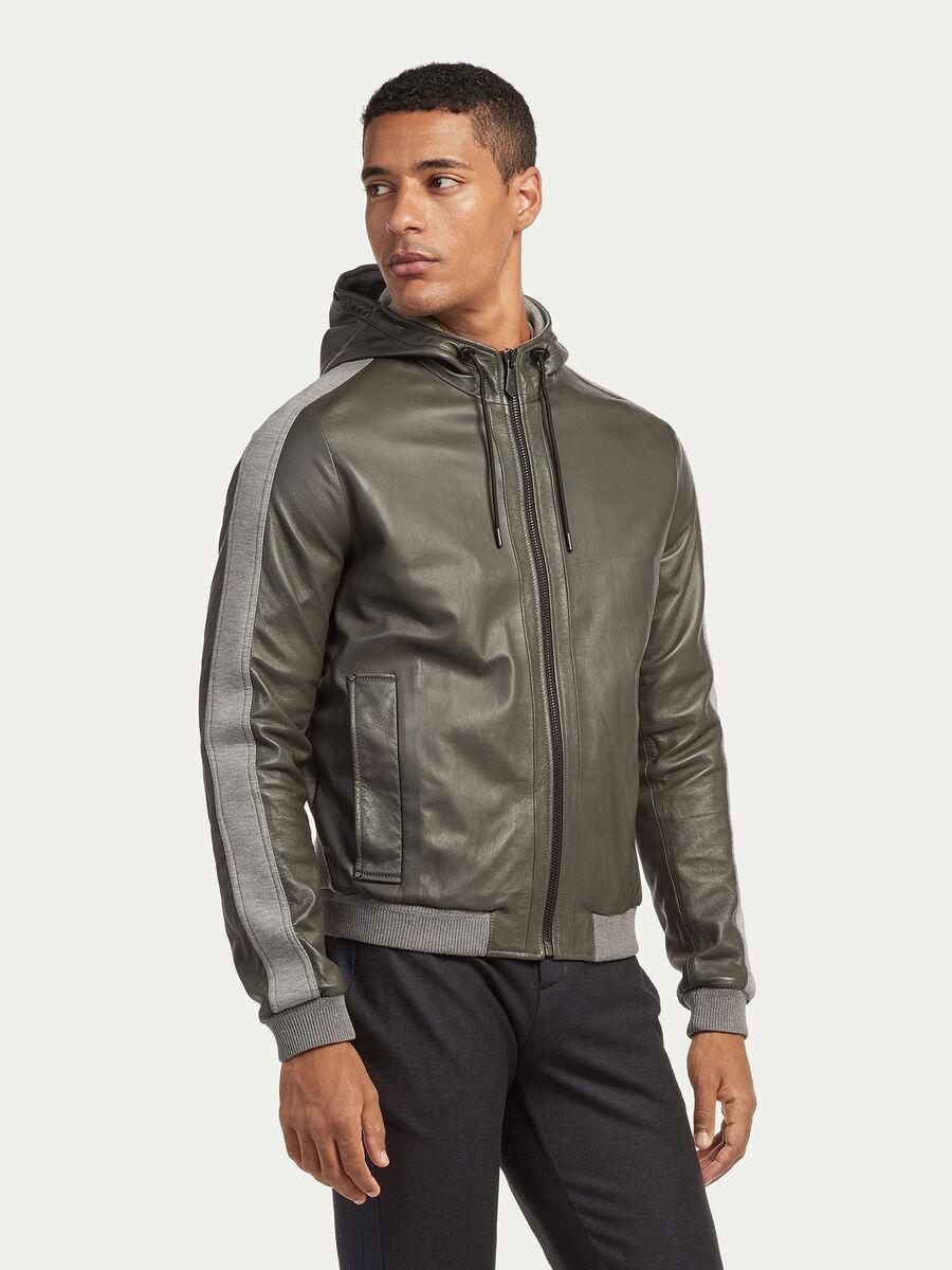 Regular fit fleece and leather jacket