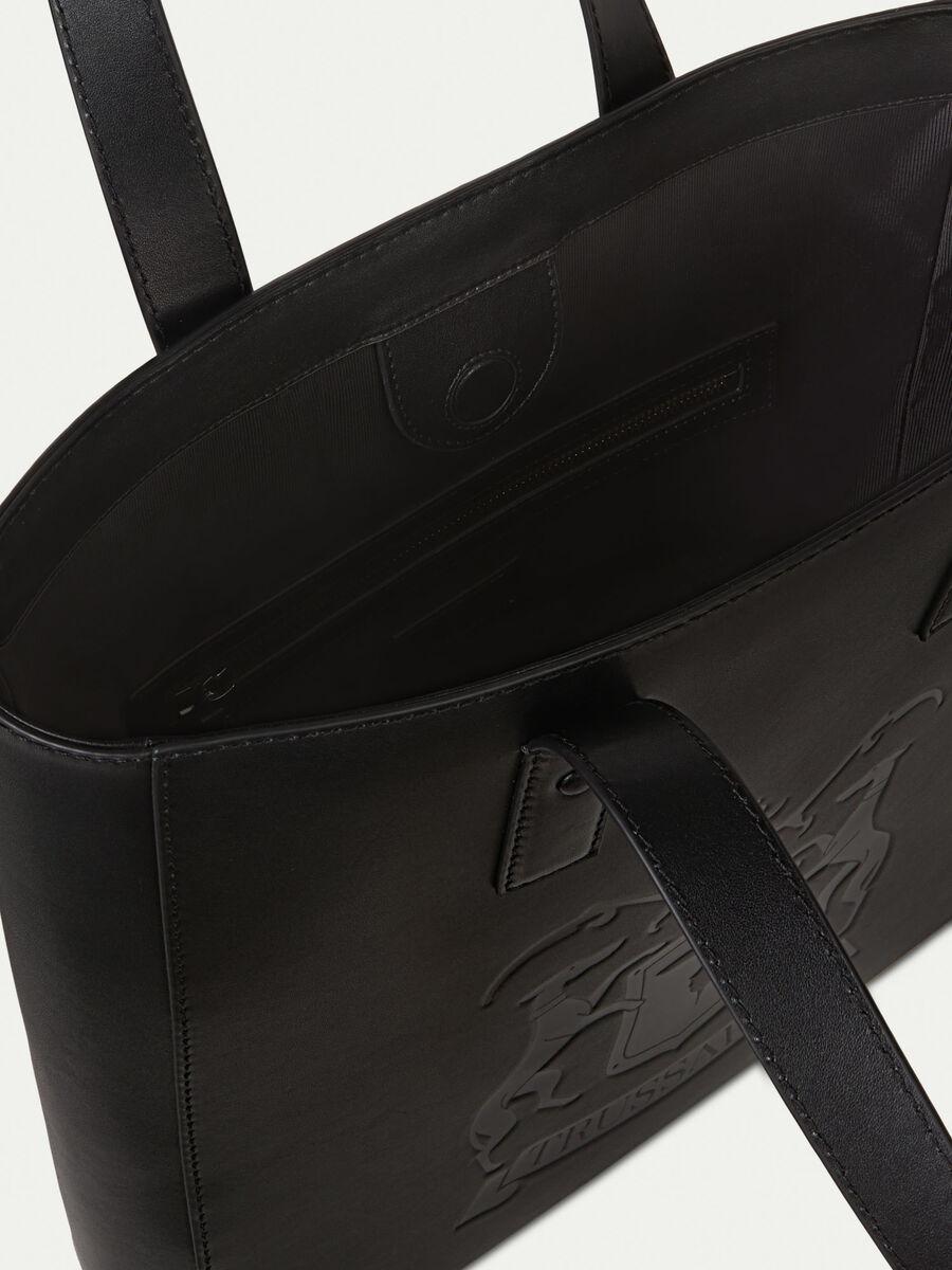 Unisex leather shopping bag