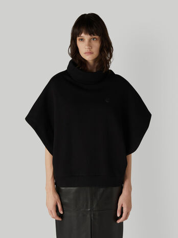 Cotton poncho sweatshirt with high neck